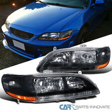 For Honda 1998-2002 Accord Black Housing Head Lights Pair w/ Amber Reflector