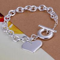 ASAMO Damen Armband mit Herz Anhänger 925 Sterling Silber plattiert A1285