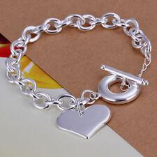 Damen Armband mit Herz Anhänger 925 Sterling Silber plattiert Schmuck