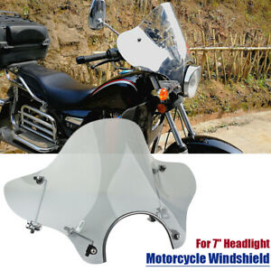 Universal Motorcycle Headlight Windshield + Mounting Kit For Honda Yamaha Harley