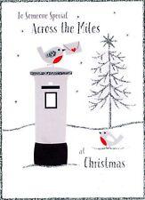 À travers le Miles Carte de Noël avec Robins paillettes fini de Noël Cartes