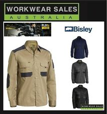 Bisley Flex And Move Mens Drill Work Shirt Long Sleeve All Colours. BS6133