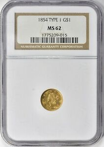 1854 Type 1 Liberty Gold Dollar $1 NGC MS 62
