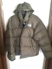 The North Face Nuptse 700 Goose Down Mens Hood Puffer Jacket Coat XL dark OLIVE