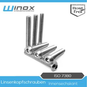 Linsenkopfschrauben DIN ISO 7380 M3 M4 M5 M6 M8 M10 Edelstahl A2 Innensechskant