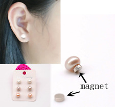 12mm WHITE PEARL DOME CIRCULAR EARRING CLIP ON; STUD; MAGNET IDEAL WEDDING