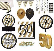 Negro & DORADO AÑOS 50 - Feliz 50 Cumpleaños Artículos Fiesta Decoración Vajilla