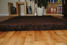 """Soft Thick Plain Small Extra Large Shaggy 5 Cm Pile Size Modern Non Shed Rugs Brown 160x230cm (5'3""""x7'7"""")"""