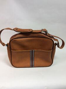 Vintage 1970s Shoulder bag / messenger bag Brown tan pvc