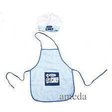 NEW Kids Boys Girls Chef Hat Apron Blue Cookung Baking Chefs Junior 2pcs Set
