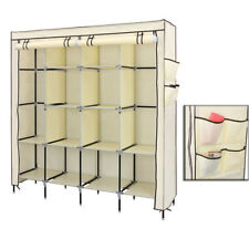 Clothes Closet Portable Wardrobe Clothes Storage Rack 12 Shelves 4 Pockets UKDC