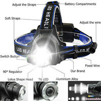 T6 LED Headlight Headlamp Torch Super-bright Rechargeable Flashlight 150000LM