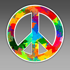 funny car bumper sticker peace symbol hippie boho flower child gypsy vinyl 97mm