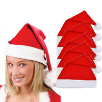 5x Adult Unisex Adult Xmas Red Cap Cotton Santa Novelty Hat for Christmas Party