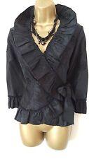 Gothic Black Taffeta Wrap Ruffle Bolero Top Vintage Victorian Vampire 10-12