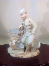 Antique Signed Porcelain Figurine Gentlemen Hunter & Faithful Retriever Dog D-1