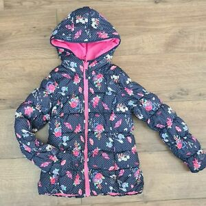 Girls/Children George floral navy and pink hooded winter coat/jacket, 9-10 years