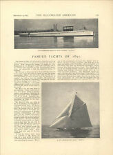 1891 Ocean Yachting Famous New York Yachts Owners Munro MacDonough