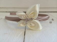 Taupe Satin Headband Alice Band Ivory Butterfly Bridesmaid Flower Girl