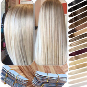 60PCS Tape-In Russian Remy Thick Human Hair Extensions Skin Weft Straight 150g F