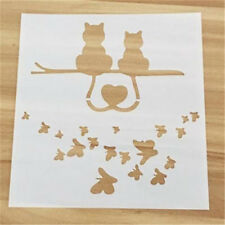 Cat Butterfly Pattern Layering Stencil Template DIY Scrapbooking Home Decorate ♫