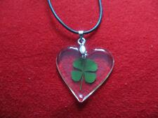 Anhänger echtes 4-blättriges Kleeblatt Glücksbringer Glücksklee mit Kette Herz