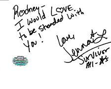 JENNA LEWIS SURVIVOR ALL-STARS  4 X 6 INDEX CARD AUTOGRAPH INSCRIBED  AD10204