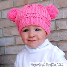 BonEful RTS NEW Boutique Crochet Knit PINK Baby Girl Pom Winter INFANT Hat 3-9 M