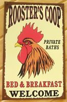 Rooster Coop TIN SIGN rustic farmhouse country prim kitchen chicken wall decor
