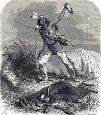 Antique print America / indian scalping enemy 1869 stampa antica indiani Scalpo