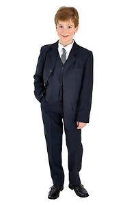 5 teilig Jungen Anzug festlich Kinderanzug Kommunionsanzug Taufanzug blau 80-158
