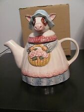 CUTE DECORATIVE CERAMIC TEA POT - COW w/BASKET OF FLOWERS - FREE US SHIPPING!