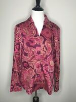 Jones New York Womens Shirt Blouse Sz M Pink Maroon Paisley Empire Top Career