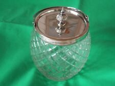 EPNS LIDDED DIAMOND CUT GLASS BISCUIT BARRELL