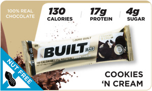 Built Bar 18 Pack Protein and Energy Bars - Cookies&Cream - 🚀 FREE SHIPPING 🚀