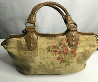 Relic California Canvas Brown Leather Braided Handles+Trim Boho Med Satchel Bag