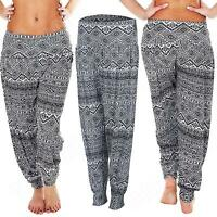 New Womens Ladies Ali Baba Aztec Print Harem Trousers Pants Size S M L XL 10 12