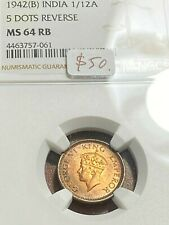 1942(B) India 1/12 Anna NGC MS64RB Pretty Toning, Scratch-Free Holder CHN