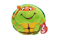 "Ty TEENAGE MUTANT NINJA TURTLES MICHELANGELO BALL 4"" Plush Stuffed Animal NEW"