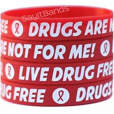 100 Live Drug Free Wristbands - Drugs Are Not For Me Bracelet - Red Ribbon Week