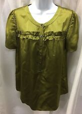 J CREW Green 100% Silk Blouse Top Short Sleeve Size 10 Ruffles