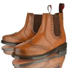 MENS REAL LEATHER CHELSEA DEALER BROGUE BLACK TAN LEATHER SOLE ANKLE BOOTS SHOES