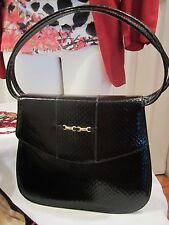 VINTAGE Black Patent Snakeskin Slim Handbag Goldtone Buckle by NATURALIZER