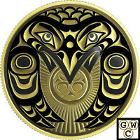 2017 'Raven Brings The Light' Colorized Proof $100 Gold Coin 14K (18223)