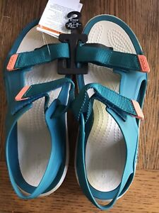 WOMEN'S CROCS BLUE SWIFTWATER EXPEDITION ANKLE STRAP SANDAL SIZE 8 NWT