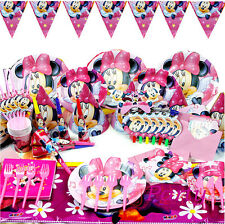 89Pcs Minnie Mouse Girl Kid Birthday Party Supplies Tableware Plates Straws Hat