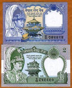 SET Nepal, 1 and 2 Rupees, (1981-87),  P-29-37 UNC > Leopard, Deer