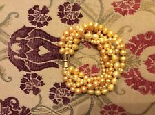 APRICOT MULTI FIVE STRAND FRESHWATER PEARL BRACELET gold tone Magnetic clasp