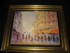 VINTAGE PORTUGUESE CITYSCAPE OIL PAINTING CANVAS SIGNED MOTA URGEIRO 1970s