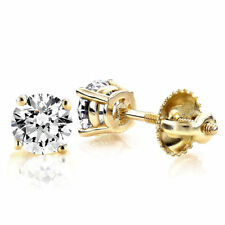 1.8ct Round Cut Stud Solitaire Earrings Gift Solid 14k Yellow Gold Screw Back